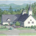 An architectural drawing shows what the new Catholic church, community hall and offices next to the rectory will look like when completed. The final Mass at Holy Family before it is demolished will be held at 8 a.m. Sunday.