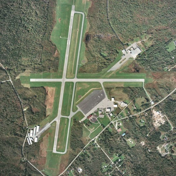 An aerial photograph of the Knox County Regional Airport in Owls Head.