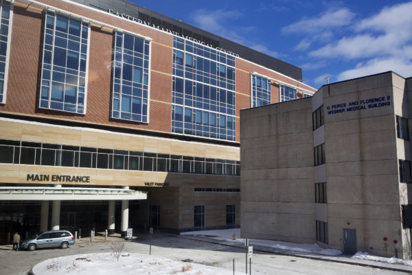 The main entrance of Eastern Maine Medical Center is seen in Bangor Friday.