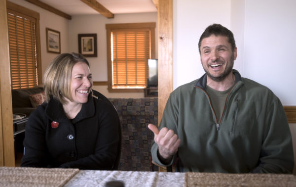 Adria and Lokie Horn share a laugh as they talk about their search for a farm in Maine a few years ago.