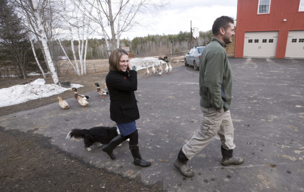 Adria and Lokie Horn at their farm in Pittston,  where they keep a herd of yak, chickens, ducks, geese and rabbits. They met in Iraq while Adria was on one of her five deployments and Lokie worked as a security contractor.