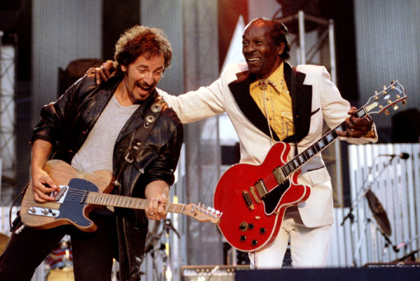 Bruce Springsteen and Chuck Berry perform &quotJohnny B. Good&quot to open The Concert for the Rock & Roll Hall of Fame September 2, 1995  at Cleveland Stadium.