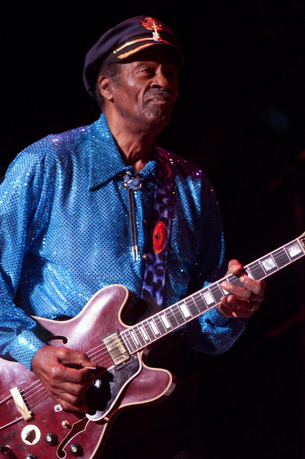 Chuck Berry plays at the Universal Amphitheatre in Los Angeles in a January 2002 file image. Berry died at 90 on Saturday, March 18, 2017.