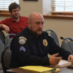 Interim Damariscotta police Chief Jason Warlick addresses the Damariscotta Board of Selectmen on Wednesday. The select board decided Wednesday to delay a search for a new police chief and keep Warlick in his position as interim chief indefinitely.
