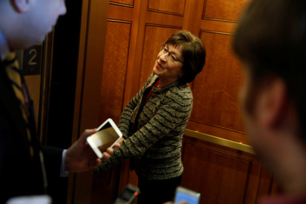 U.S. Sen. Susan Collins, R-Maine, departs after a vote at the U.S. Capitol in Washington, Feb. 17, 2017.