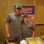 Todd Fullerton, chef at Hero's Sports Grill & Entertainment Center in Bangor, and his son, Nicholas, served up some of Fullerton's award-winning seafood chowder Saturday night during the Bangor Professional Firefighters IAFF Local 772's fifth annual Chili and Chowder Cook-off, which raised $6,300 for the Muscular Dystrophy Association. Fullterton's chowder, one of about 40 entries submitted by professional and amateur cooks, won in both the People's Choice and Firefighters' Choice categories during the annual event, held Saturday night at Hollywood Casino, Hotel & Raceway.