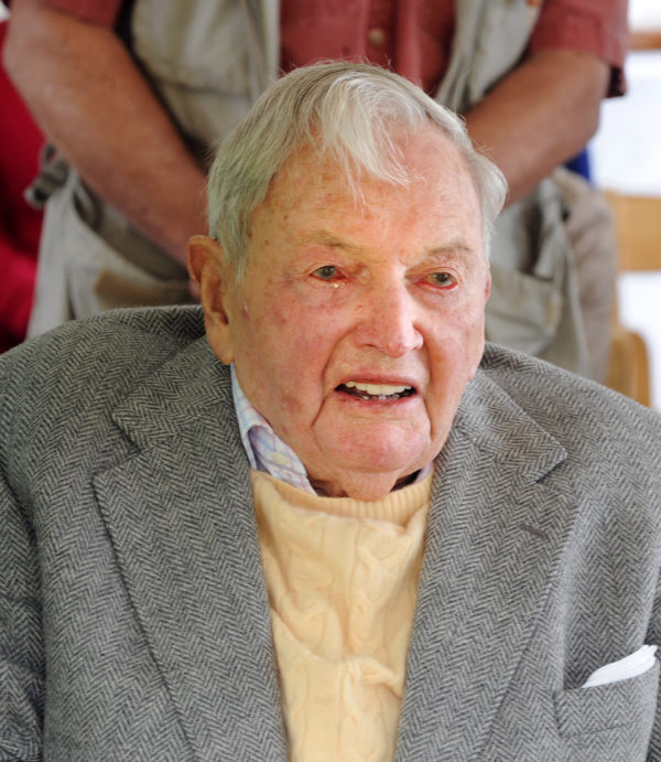 David Rockefeller Sr. is seen during an event to mark his donation of 1,000 acres to the Mount Desert Land and Garden Preserve in May 2015 on Mount Desert Island.