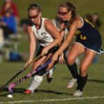 Sydney Meader of Boothbay Region High School (right), pictured during a game in 2015, has verbally committed to continue her career at the University of Maine starting in 2018.