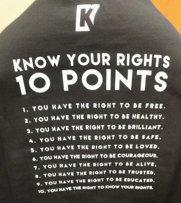 NFL quarterback Colin Kaepernick recently sent &quotKnow Your Rights&quot sweatshirts to Bates College as a show of solidarity with students of color who are working for racial and social justice.