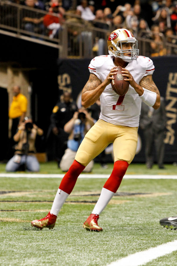 San Francisco 49ers quarterback Colin Kaepernick (7) against the New Orleans Saints during the second half of a 2012 game at the Mercedes-Benz Superdome. The 49ers defeated the Saints 31-21.