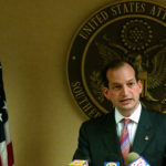 Alexander Acosta, United States Attorney for the Southern District of Florida, speaks at a press conference on the alledged illegal activities of West Palm Beach City Commissioner Ray Liberti in West Palm Beach, May 8, 2006.