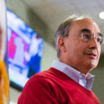 BANGOR, MAINE -- 11/09/2016 -- U.S. Rep. Bruce Poliquin declares victory over Emily Cain in the 2nd Congressional District after midnight Wednesday at Dysart's in Bangor. Micky Bedell | BDN