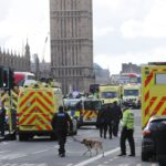 Emergency services respond after an incident on Westminster Bridge in London, March 22, 2017.