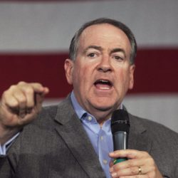 Republican Mike Huckabee speaks at the Growth and Opportunity Party at the Iowa State Fairgrounds in Des Moines, Iowa, Oct. 31, 2015.