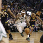 Boston's Isaiah Thomas (middle) drives the ball past Indiana's Myles Turner (left) and Jeff Teague during Wednesday night's game at TD Garden in Boston. The Celtics defeated the Pacers 109-100.