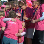 Cancer survivors hug before the beginning of the 17th Annual Susan G. Komen Race for the Cure on the Bangor Waterfront on Sunday, Sept. 15, 2013. More than 4,000 people participated in this years race.
