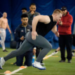 "University of Maine senior Max Andrews goes through ""Pro Day"" testing and workouts in front of NFL and other pro football scouts at the Latti Fitness Center and Mahaney Dome Thursday morning."