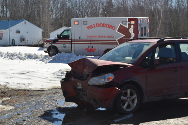 All five occupants of a Suzuki hatchback were transported to the hospital after the car crashed into a veterans monument on Route 32 in Jefferson.