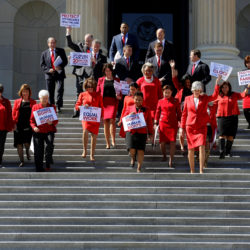 Democratic women in Congress arrive for a rally during the Day Without a Woman on International Women's Day at the U.S. Capitol in Washington, U.S., March 8, 2017.