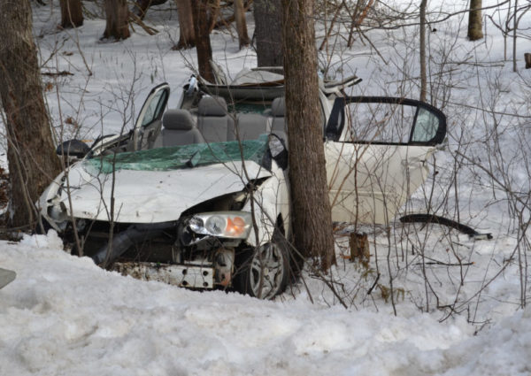 A teen was hospitalized Saturday morning after a single-vehicle crash on Winslows Mills Road. To extricate him from the wreck, firefighters cut the roof off the teen's 2007 Chevrolet Malibu.