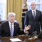 U.S. President Donald Trump reacts after Republicans abruptly pulled their health care bill from the House floor in the Oval Office of the White House on March 24, 2017, in Washington, D.C.