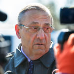 Gov. Paul LePage answers questions from broadcast media following a maple tree tapping ceremony on the Blaine House lawn in mid-March.