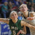 Junior Kolleen Bouchard of Houlton (right), pictured during a 2017 tournament game in Bangor, is a two-time Bangor Daily News All-Maine honoree. The 41st edition of the BDN All-Maine Schoolgirl Basketball Team, the state's best 15 players regardless of position or class, will be published on Saturday.