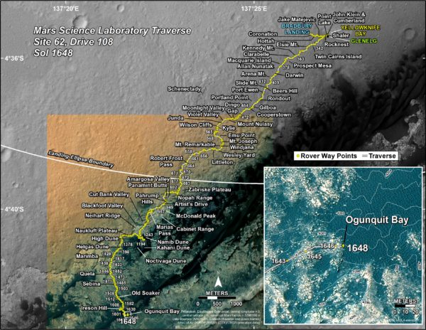 This map outlines the Mars Curiosity Rover's journey so far, including its most recent destination, Ogunquit Bay.