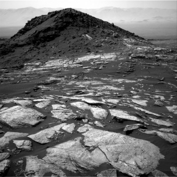 A picture of Ireson Hill on Mars, taken by the Curiosity Rover and named after the Ireson Hill in Bar Harbor, Maine.