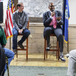 Boston Celtics radio broadcasters Sean Grande (left) and Cedric Maxwell talk with area fans during a meet and greet gathering at the Sea Dog Restaurant in Bangor Tuesday.