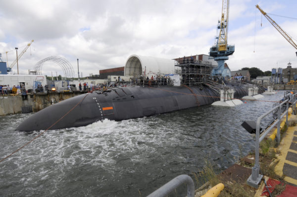 The USS San Juan is undocked after an overhaul at the Portsmouth Naval Shipyard in Kittery. Maine workers can't access the facility because their driver's licenses don't comply with the federal Real ID law.
