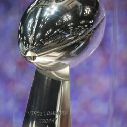 Vince Lombardi Trophy on display during the 2017 NFL Combine at the Indiana Convention Center.