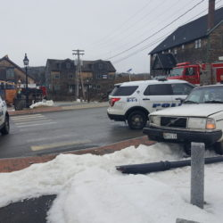 A winding, low-speed police chase through downtown Belfast and surrounding side streets came to an end around 9 a.m. Monday, when the driver of the white Volvo crashed into a light pole and got stuck. Police say the driver damaged several police cruisers during the pursuit.