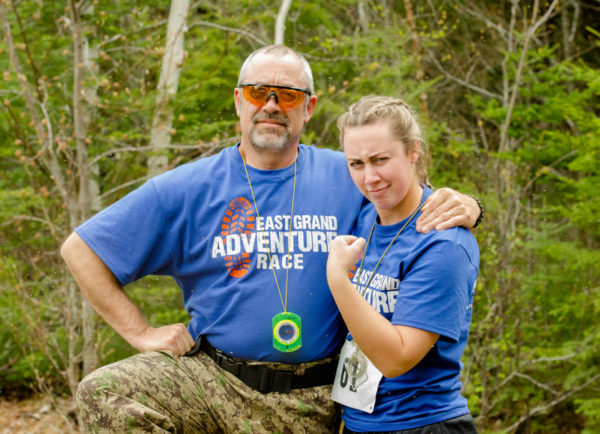 Father-daughter team Bob and Helen Humphrey of Pownal, pose for a photo during the East Grand Adventure Race in Danforth in the spring of 2016.