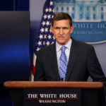 Former national security adviser General Michael Flynn delivers a statement at the White House in February 2017.