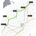Maine Electric Power Co. has started courting landowners between Chester and Pittsfield as the utility pursues a new regional transmission line, drawn in green, that it says will reduce congestion and increase the system's reliability. The company, jointly owned by Central Maine Power Co. and Emera Maine, expects the line will go into service in 2020.