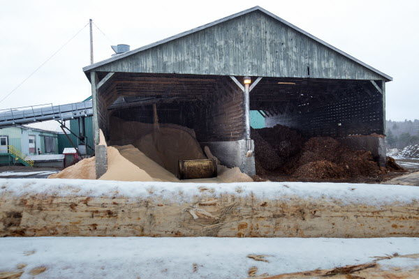 The sawdust and bark piles at Robbins Lumber in Searsmont. As it churns out boards, planks and lumber by the truckload each day, the mill ends up with a lot of leftovers. Every day, the company's saws and grinders produce about 90 tons of woodchips -- enough to fill three truckloads.