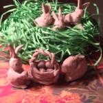 Clay bunnies.