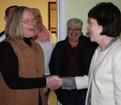 Sen. Collins (right) with Joanna Russell, member of BARN Board of Directors and Executive Director of the Northeastern Workforce Development Board