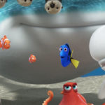 "Dory(Ellen DeGeneres), Marlin (Albert Brooks) and Nemo (Hayden Rolence) meet a whole new school of fish in ""Finding Dory."""