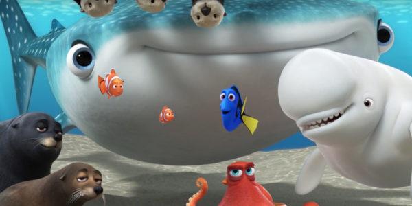 """Dory(Ellen DeGeneres), Marlin (Albert Brooks) and Nemo (Hayden Rolence) meet a whole new school of fish in """"Finding Dory."""""""