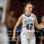 University of Maine's Sigi Koizar (right) during their basketball game against University of Massachusetts Lowell at the Cross Insurance Center in Bangor.