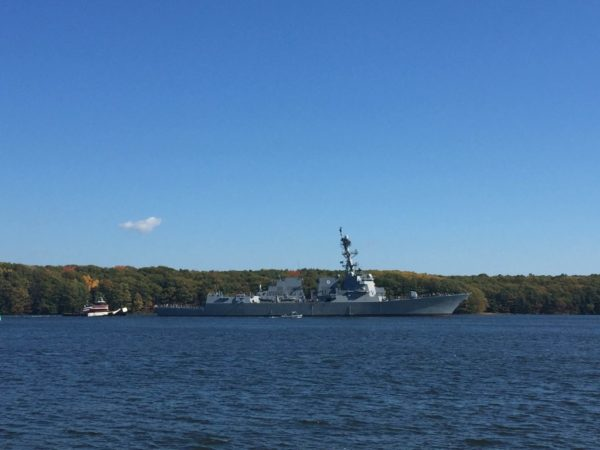 The future USS Rafael Peralta left Bath Iron Works for sea trails, Oct. 17, 2016. The DDG 115 is the first Arleigh Burke-class destroyer built by the Bath shipyard since the class was restarted by the U.S. Navy.