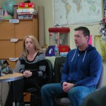 Jen and Andrew Morrow talk to Adult Education students at the Saco Learning Center on Monday afternoon.