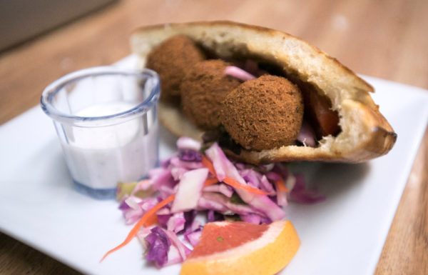 The falafel dish at the Neighborhood, the new restaurant owned by Seth Whited and Sarah Waldron in Belfast.