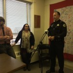 Bangor policeman Jason McAmbley, the department's community relations officer, talks Wednesday about the city's new pilot Law Enforcement Assisted Diversion program that will assist some drug users who commit low-level, nonviolent crimes with resources designed to help stabilize their lives, instead of sending them to jail. Also pictured are Gretchen Ziemer, criminal justice coordinator for Health Equity Alliance, and Kenney Miller, executive director of the alliance, which successfully applied for funding for the LEAD program.