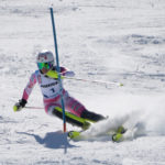Lila Lapanja (USA) during the Women's Slalom ski race at Sugarloaf Mountain Resort, March 26, 2017. Lapaja finished third in the event.