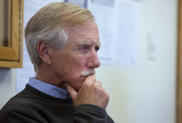 Sen. Angus King listens as Bucksport officials discuss the potential redevelopment of the former Verso Paper mill in Bucksport. King is proposing an initiative to get rural Maine communities to think about their futures.
