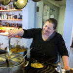 Sara Jenkins makes a pasta dish at her restaurant Nina June in Rockport.