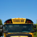 A school bus parked outside Searsport District Middle School in Searsport.